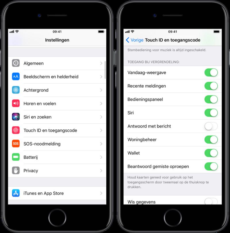 Antwoord met bericht op toegangsscherm uitschakelen op de iPhone.