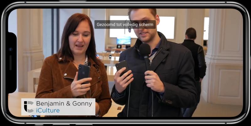 YouTube op de iPhone X met knijpbeweging voor schermvullende video.