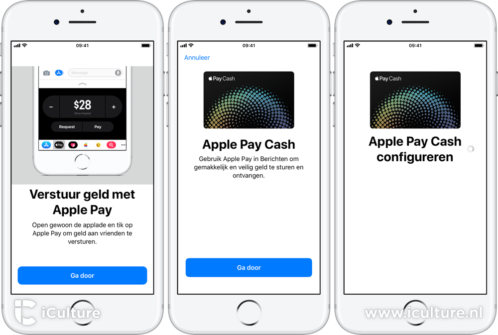 Apple Pay Cash screenshots Nederlands