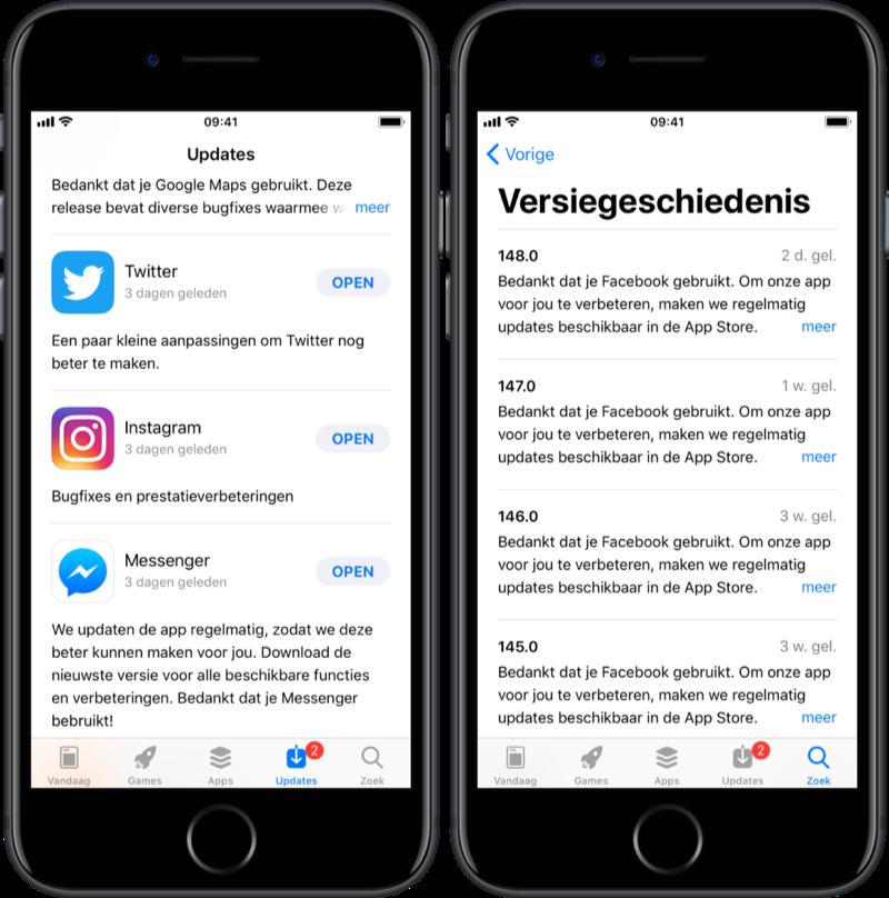 Update-omschrijvingen van Facebook, Twitter, Instagram en meer.
