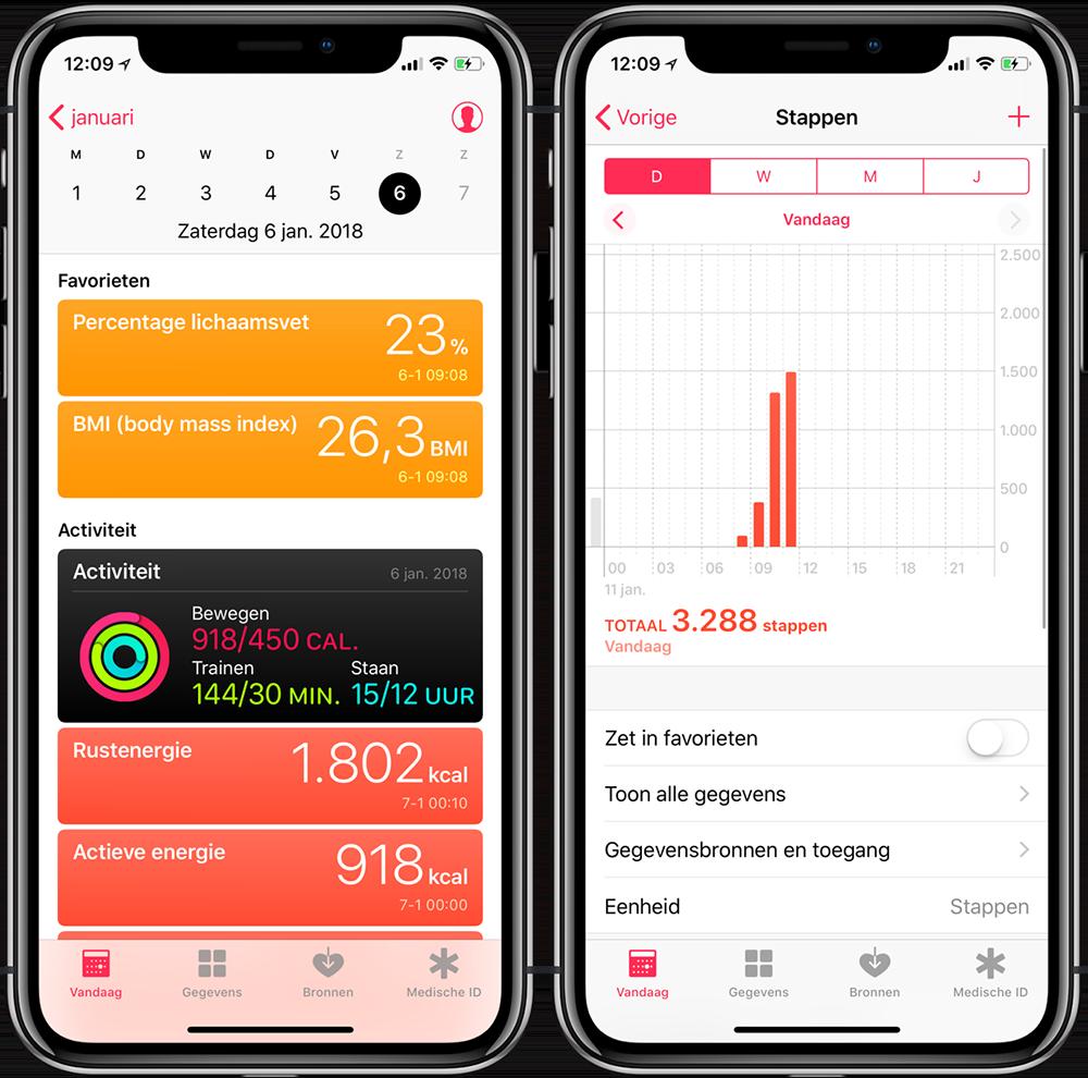 Gezondheid app-data bekijken