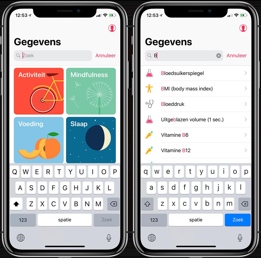 Gezondheid-app: data zoeken