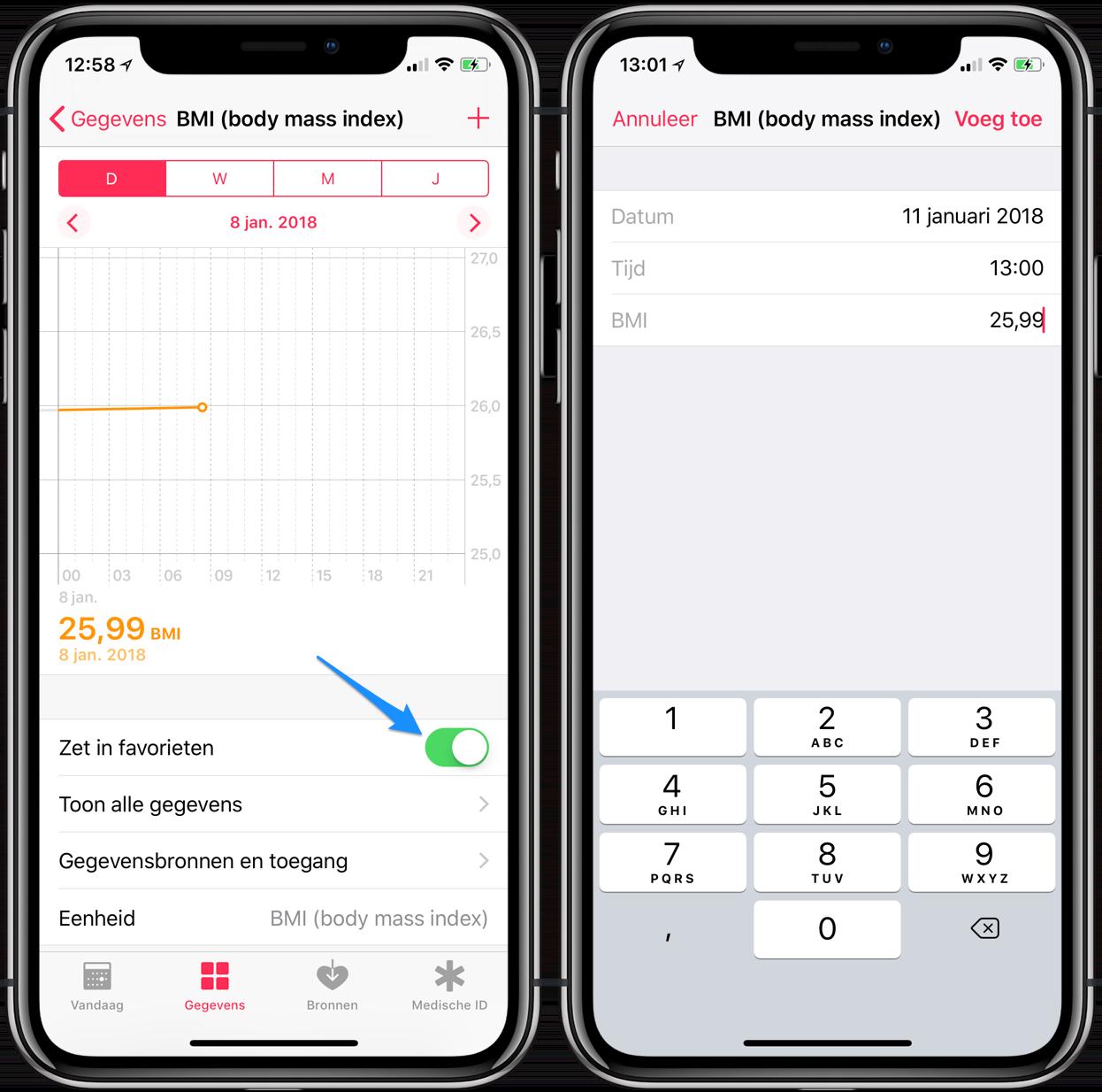 Gezondheid-app: favorieten instellen en handmatig data invoeren