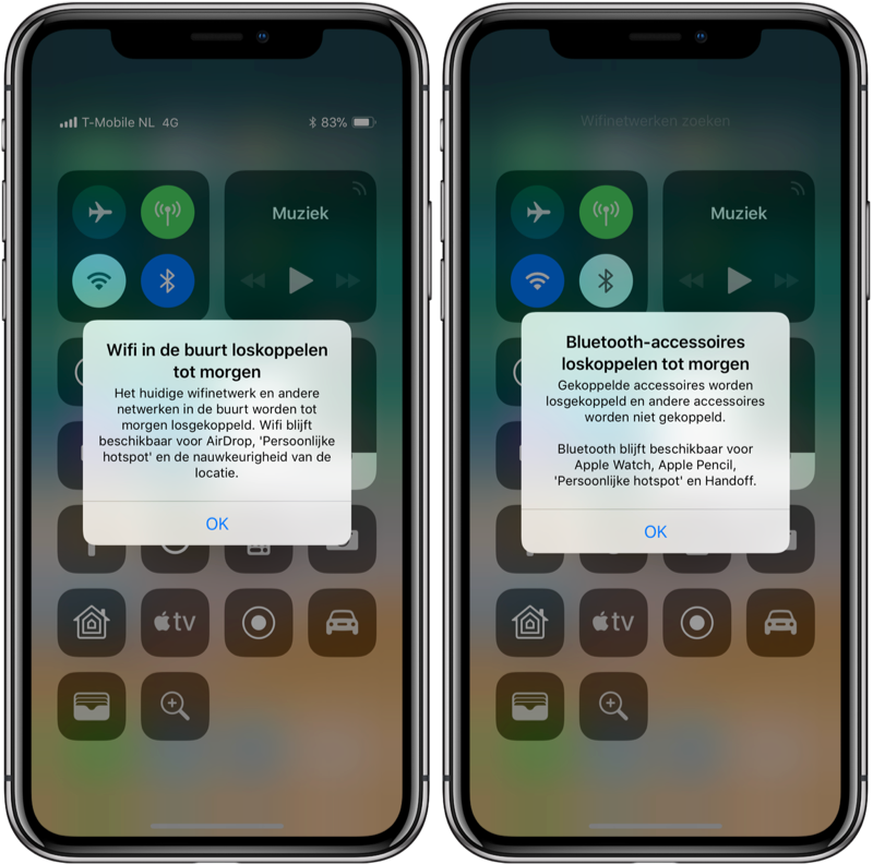 Wi-Fi en Bluetooth in het Bedieningspaneel in iOS 11.2.