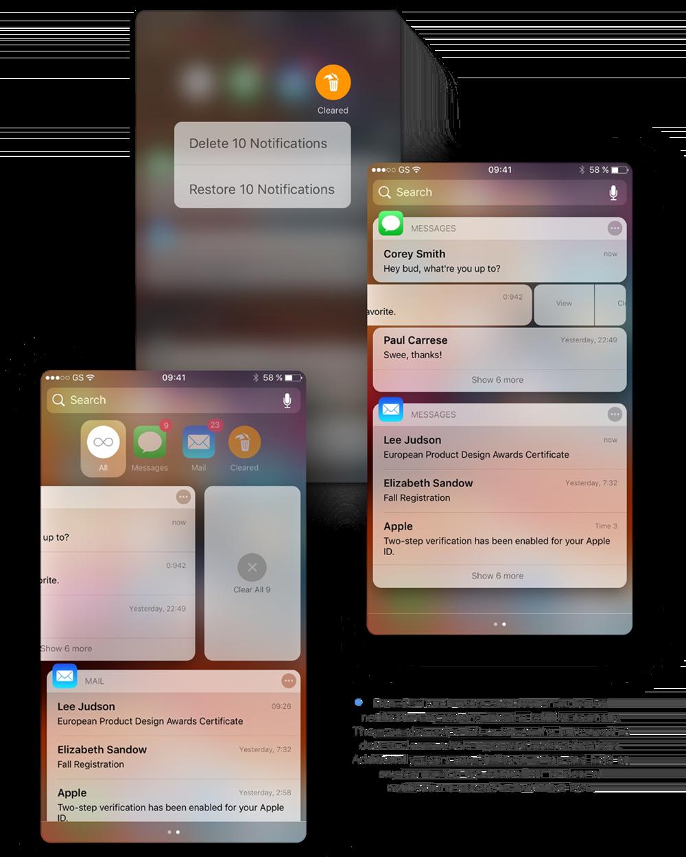 Concept voor notificaties en meldingen voor iOS.