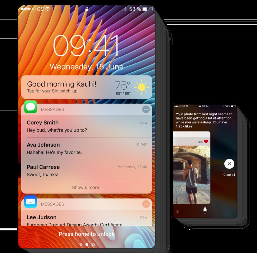 Concept voor Siri meldingen.