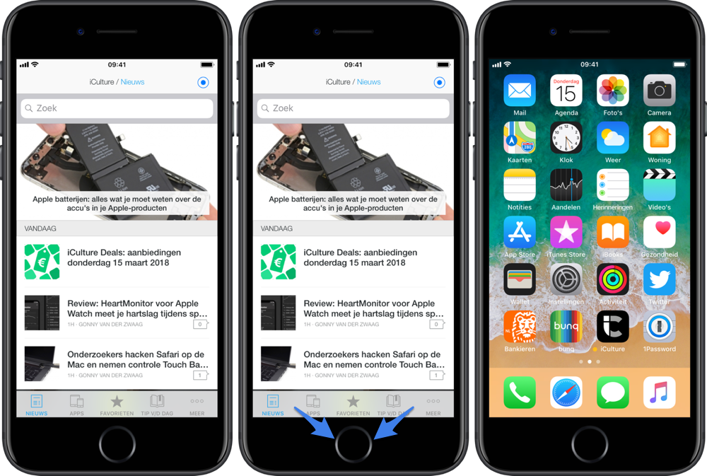 Apps afsluiten op de iPhone 8, iPhone 7 en iPhone 6.