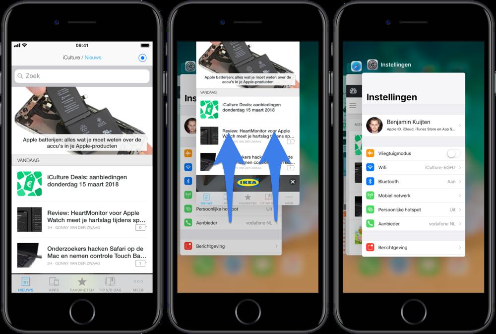 App geforceerd afsluiten op de iPhone 8, iPhone 7 en iPhone 6.
