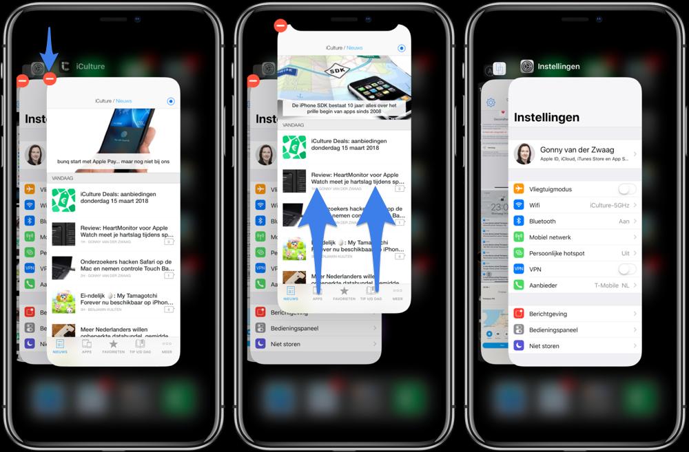 App geforceerd afsluiten op de iPhone X.