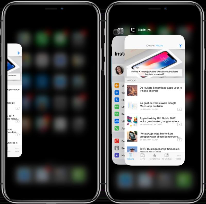 Appkiezer op de iPhone X.