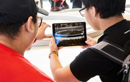 Apple Park Visitor Center: augmented reality-demo van de campus