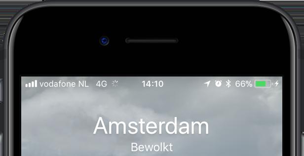 Statussymbolen op de iPhone met locatie.
