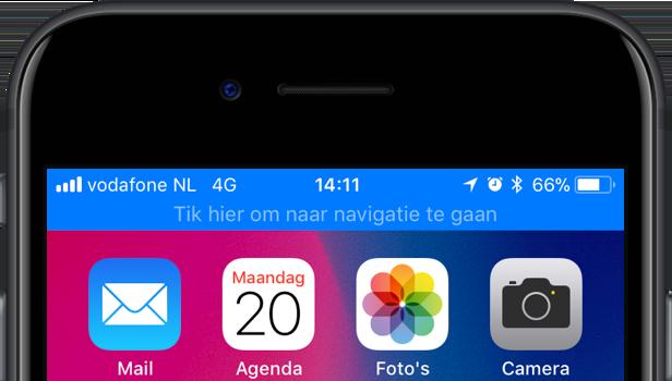 Statusbalk bij navigeren op de iPhone.