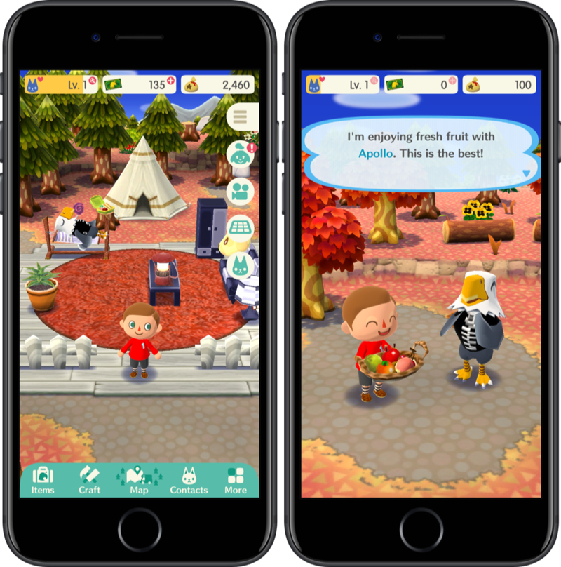Camping in Animal Crossing: Pocket Camp.