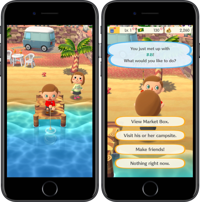 Vissen in Animal Crossing: Pocket Camp.