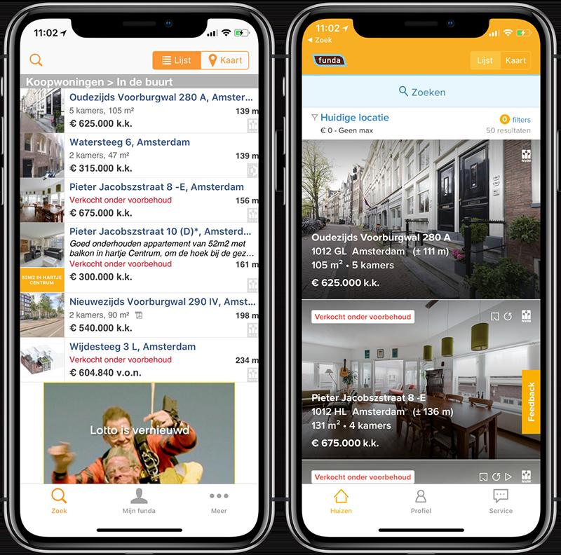 Funda: oude en nieuwe app