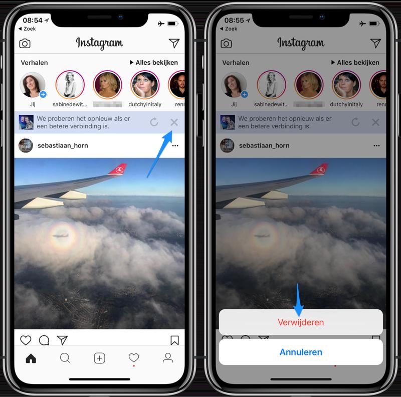 Instagram-filters, foto niet delen