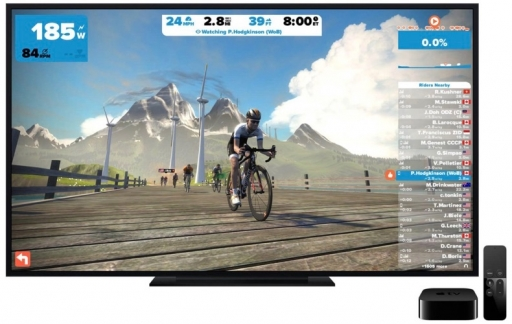 Zwift op de Apple TV.