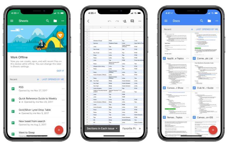 Google Docs iPhone X
