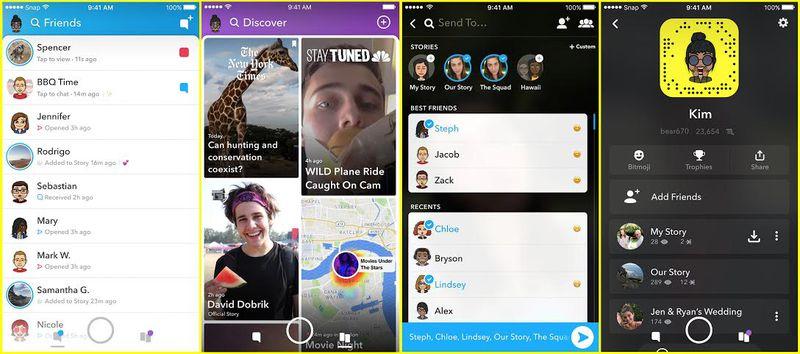 Vernieuwde Snapchat-app.