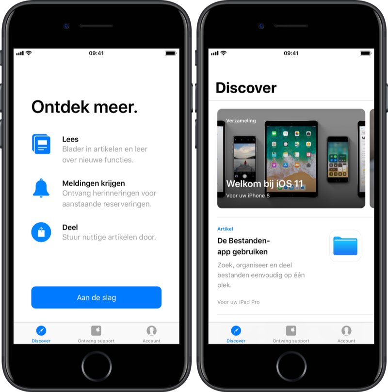 Ontdekken in Apple Support-app.