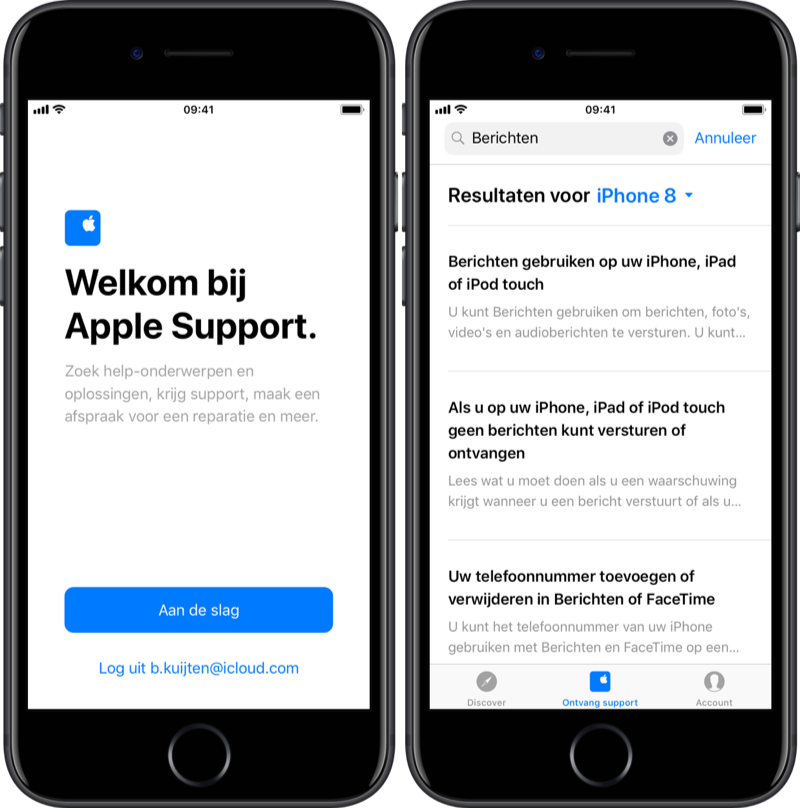 Zoeken in Apple Support-app.
