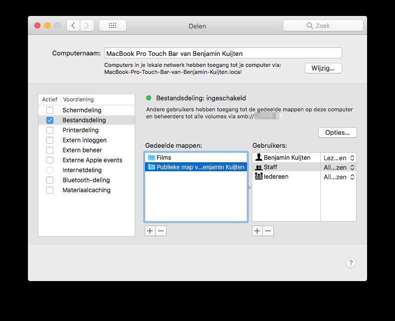 Bestandsdeling op de Mac instellen.