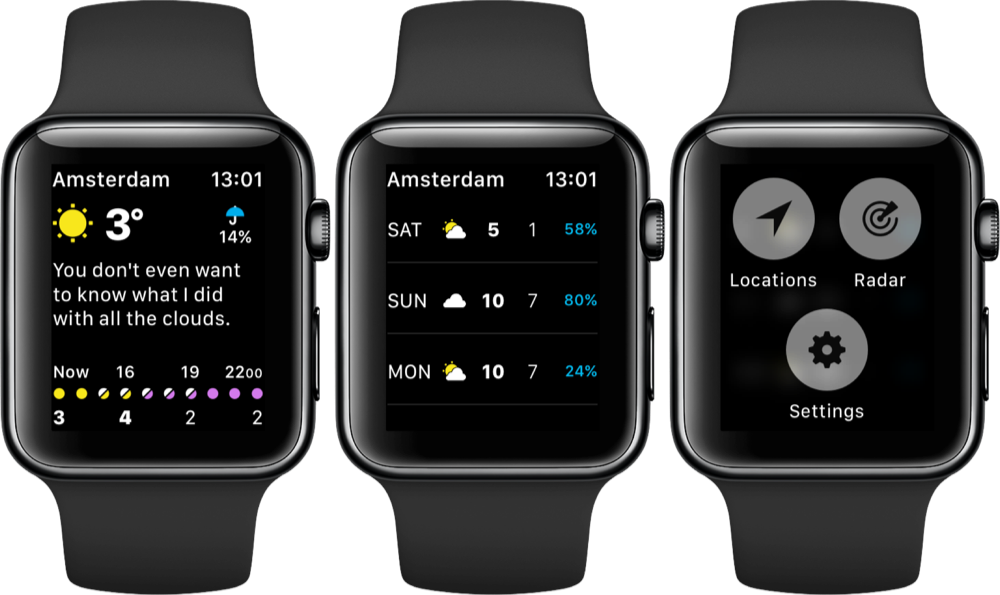 CARROT Weather op de Apple Watch.