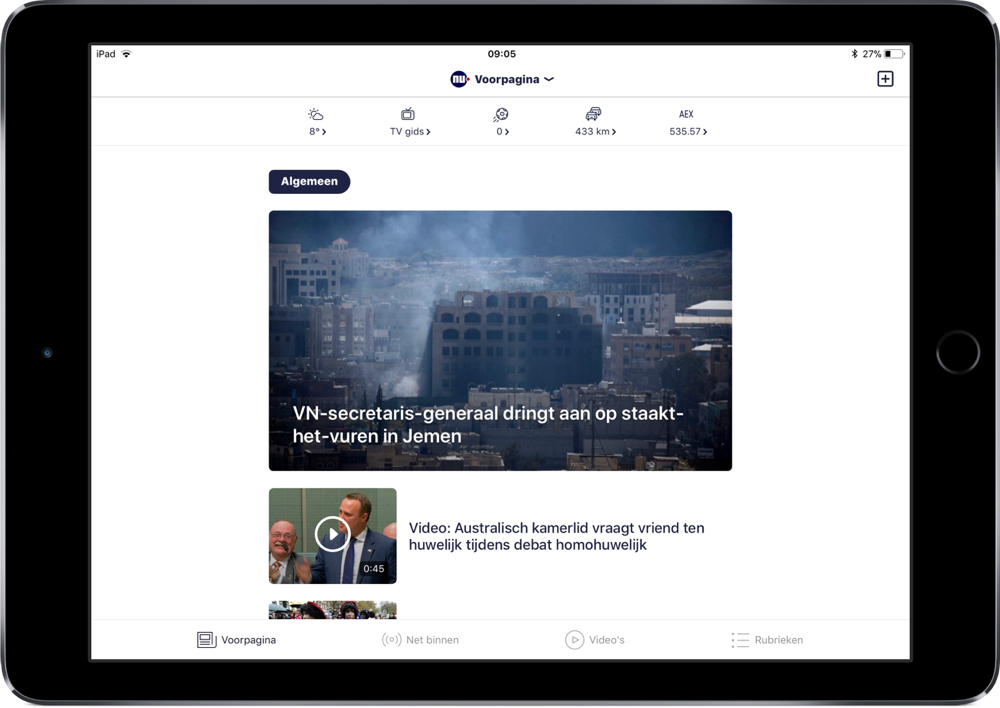 NU.nl met nieuw design op iPad.