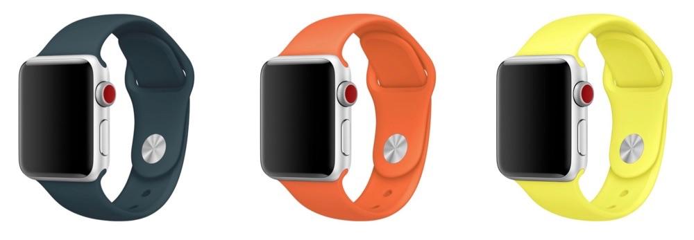 Apple Watch-sportbandje in drie nieuwe kleuren voor kerst 2017.