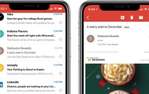 Gmail op iPhone X