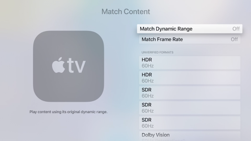 Apple TV 4K beeldinstelling match content.
