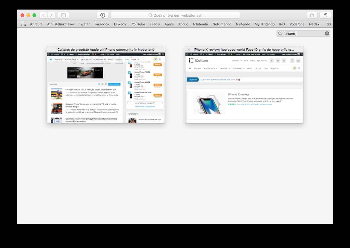 Zoeken naar tabbladen in Safari op de Mac.