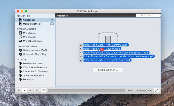 Video-afspeellijst op de Mac maken met VLC