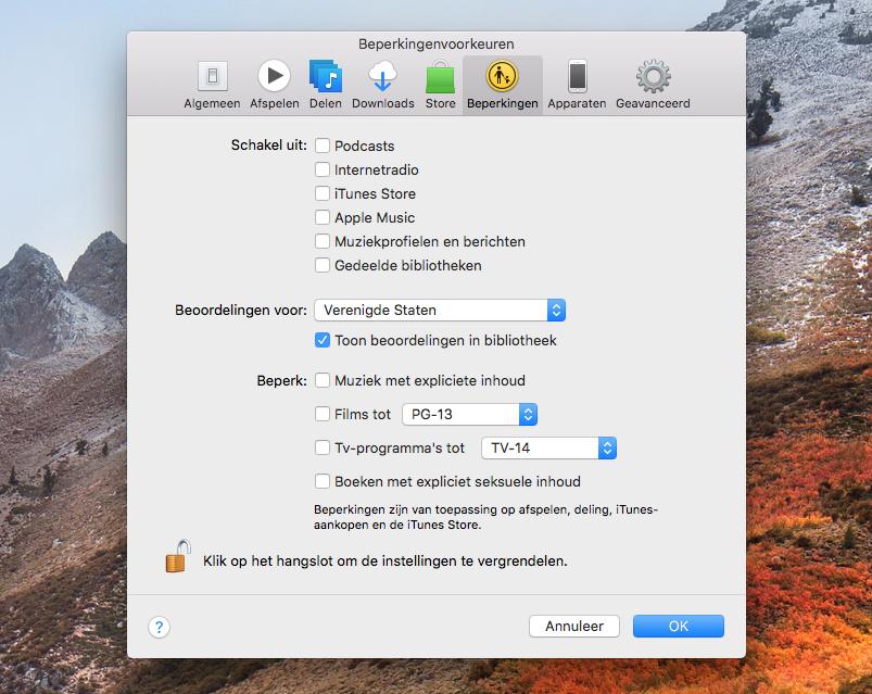 iTunes beperkingen en ouderlijk toezicht