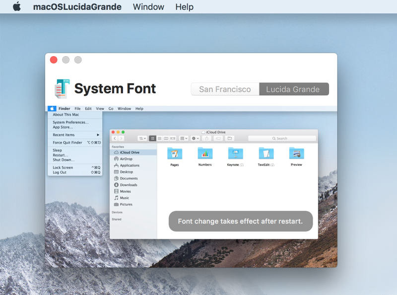 macOS Lucida Grande systeemfont