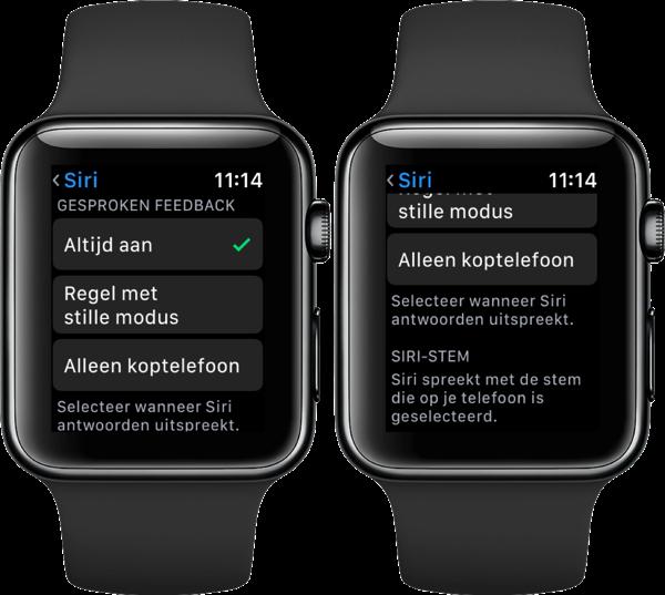 Gesproken feedback met Siri op de Apple Watch.
