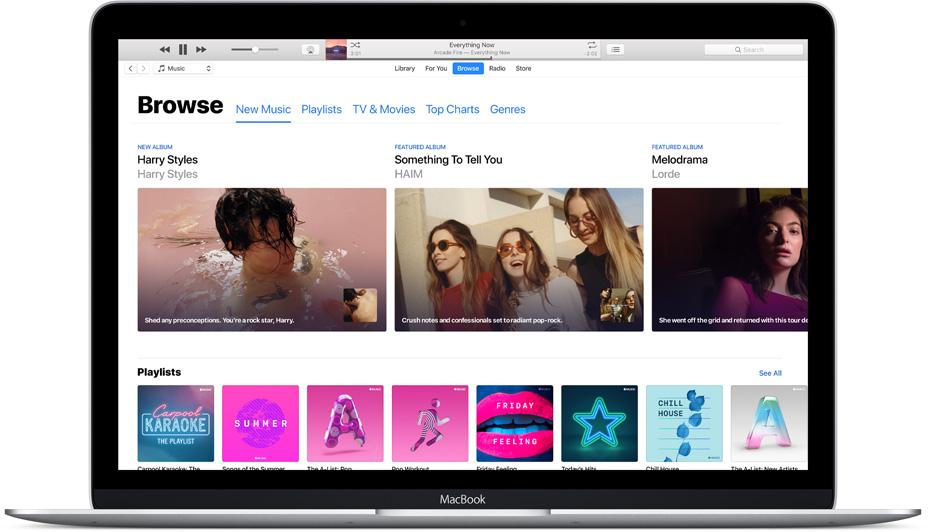Door muziek browsen in iTunes.