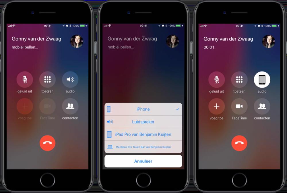 Telefoongesprek verplaatsen van iPhone naar een ander apparaat.