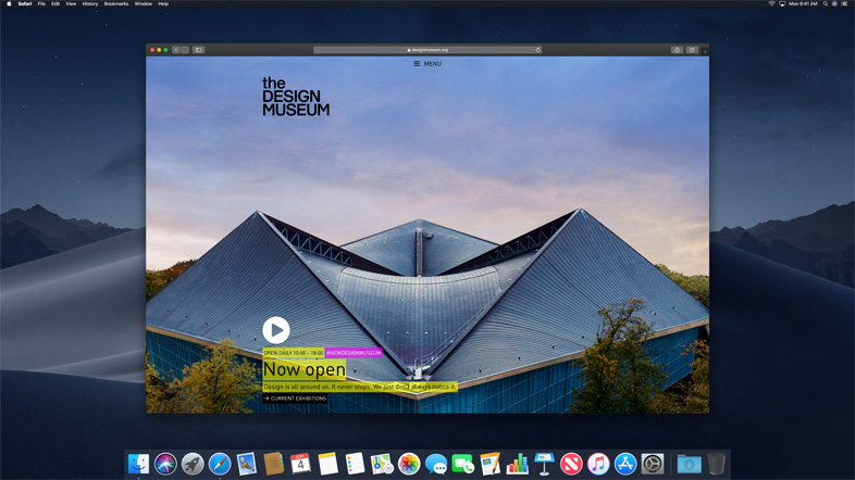 Dark Mode in macOS Mojave met Safari.
