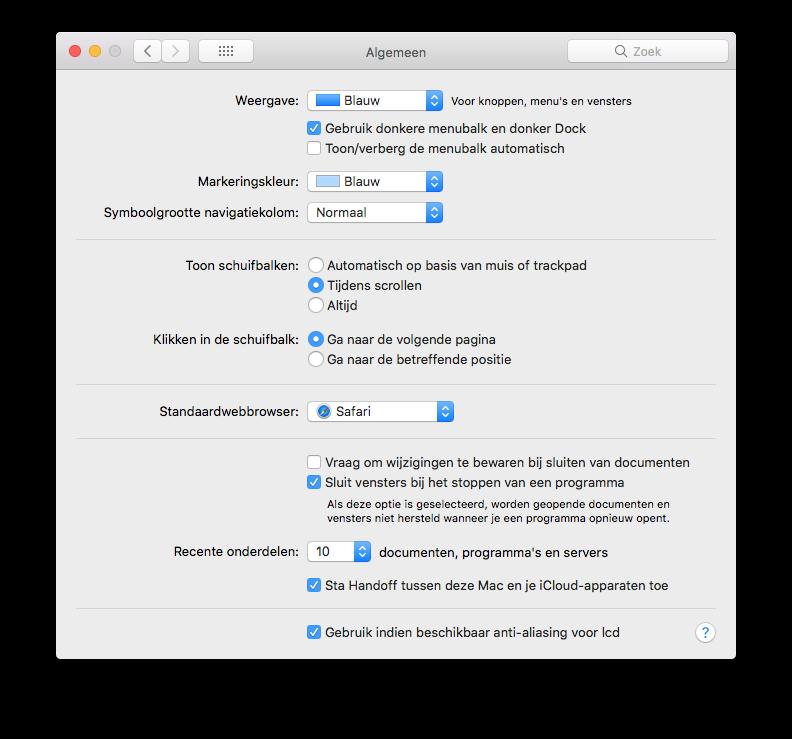 Donkere Dock en menubalk inschakelen op de Mac.