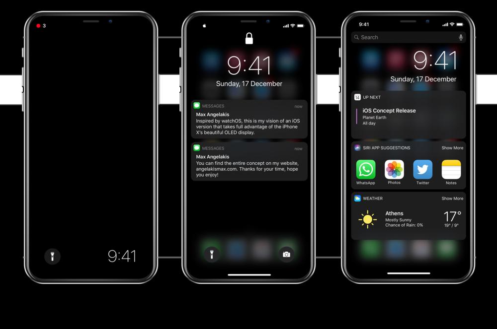 Concept van dark mode op iPhone X met lockscreen.