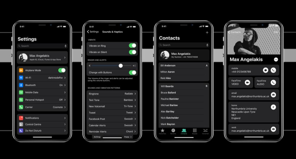 Concept van dark mode op iPhone X met instellingen en contacten.