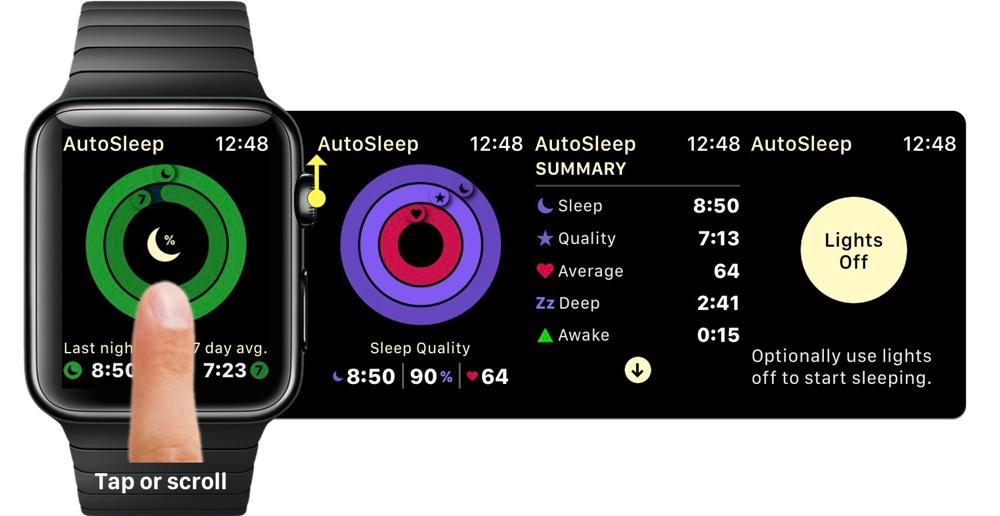 AutoSleep 5 navigeren op Apple Watch.
