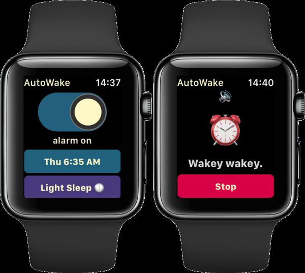 AutoWake wekker op de Apple Watch.