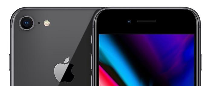 iPhone 8 in spacegrijs met voor- en achterkant.