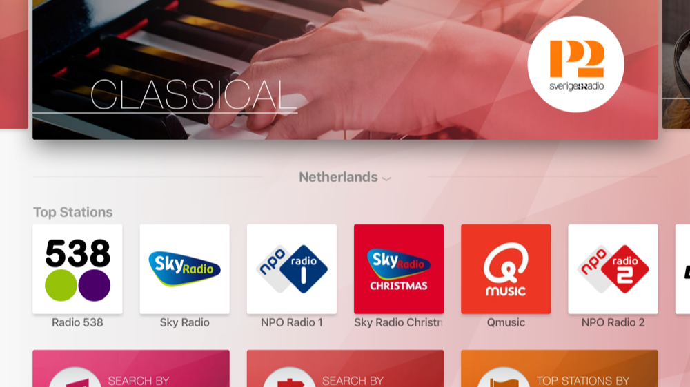 myTuner Radio op Apple TV.