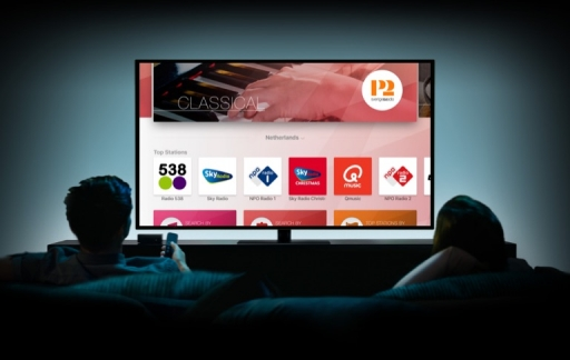 Radio-apps op de Apple TV.