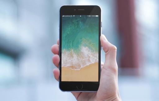 iOS 11 met leeg lock screen.