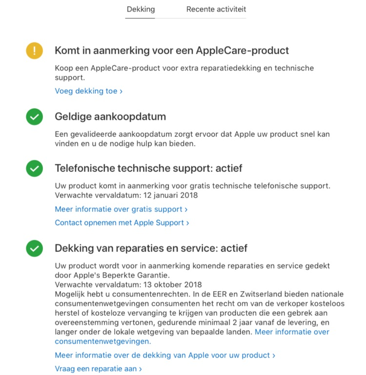 Dekking in Apple Support.
